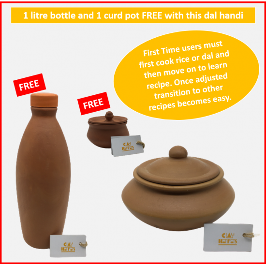 CLAY POT STARTER KIT - 2.5L cookware with a FREE 1L water bottle and a FREE dahi handi
